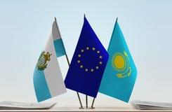 Bandiere di San Marino European Union e del Kazakistan immagini stock libere da diritti