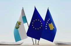 Bandiere di San Marino European Union e del Kosovo fotografie stock