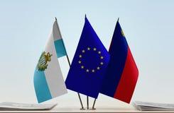 Bandiere di San Marino European Union e del Liechtenstein fotografia stock libera da diritti
