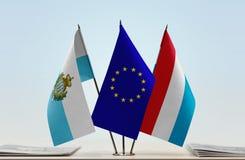 Bandiere di San Marino European Union e del Lussemburgo fotografie stock