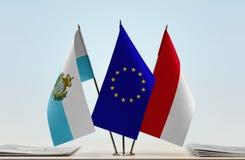 Bandiere di San Marino European Union e del Monaco fotografie stock libere da diritti