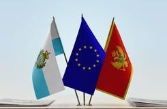 Bandiere di San Marino European Union e del Montenegro fotografie stock