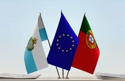 Bandiere di San Marino European Union e del Portogallo fotografia stock