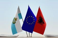 Bandiere di San Marino European Union e dell'Albania fotografia stock