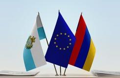 Bandiere di San Marino European Union e dell'Armenia fotografia stock