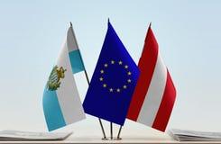 Bandiere di San Marino European Union e dell'Austria fotografie stock