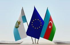 Bandiere di San Marino European Union e dell'Azerbaigian fotografia stock libera da diritti