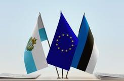 Bandiere di San Marino European Union e dell'Estonia immagine stock libera da diritti