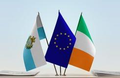 Bandiere di San Marino European Union e dell'Irlanda fotografia stock