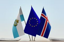 Bandiere di San Marino European Union e dell'Islanda immagini stock libere da diritti