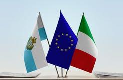 Bandiere di San Marino European Union e dell'Italia fotografie stock