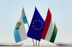 Bandiere di San Marino European Union e dell'Ungheria fotografie stock libere da diritti