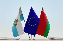 Bandiere di San Marino European Union e della Bielorussia immagini stock libere da diritti