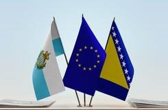 Bandiere di San Marino European Union e della Bosnia-Erzegovina immagine stock libera da diritti