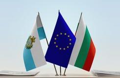 Bandiere di San Marino European Union e della Bulgaria fotografie stock