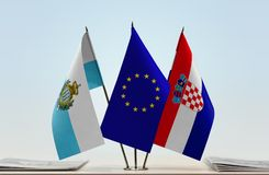Bandiere di San Marino European Union e della Croazia fotografia stock libera da diritti