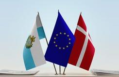 Bandiere di San Marino European Union e della Danimarca fotografia stock libera da diritti