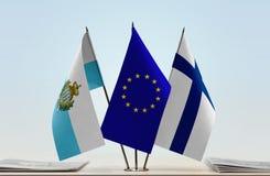 Bandiere di San Marino European Union e della Finlandia fotografia stock libera da diritti