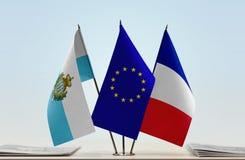 Bandiere di San Marino European Union e della Francia fotografie stock libere da diritti