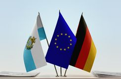 Bandiere di San Marino European Union e della Germania fotografia stock