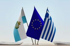 Bandiere di San Marino European Union e della Grecia fotografia stock