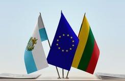 Bandiere di San Marino European Union e della Lituania fotografie stock libere da diritti