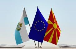 Bandiere di San Marino European Union e della Macedonia immagini stock
