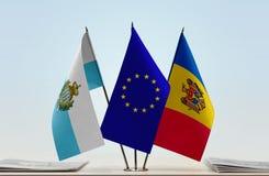 Bandiere di San Marino European Union e della Moldavia fotografia stock libera da diritti