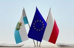 Bandiere di San Marino European Union e della Polonia immagine stock