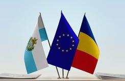 Bandiere di San Marino European Union e della Romania fotografia stock
