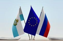 Bandiere di San Marino European Union e della Russia fotografia stock libera da diritti