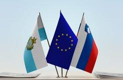 Bandiere di San Marino European Union e della Slovenia immagine stock