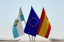 Bandiere di San Marino European Union e della Spagna fotografia stock libera da diritti