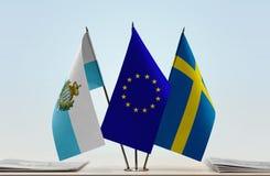 Bandiere di San Marino European Union e della Svezia fotografia stock libera da diritti