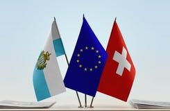 Bandiere di San Marino European Union e della Svizzera fotografia stock libera da diritti