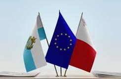 Bandiere di San Marino European Union e di Malta fotografia stock