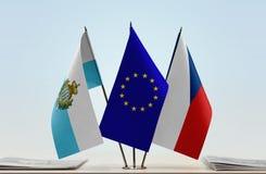 Bandiere di San Marino European Union e repubblica Ceca immagine stock libera da diritti