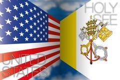Bandiere di Santa Sede e degli Stati Uniti Fotografie Stock Libere da Diritti