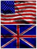 Bandiere di seta americane e britanniche Fotografia Stock