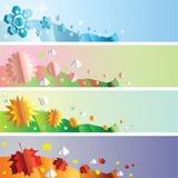 Bandiere di stagioni impostate Fotografie Stock