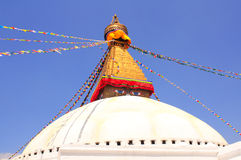 Bandiere di stupa e di preghiera di Bodnath a Kathmandu, Nepal Fotografia Stock