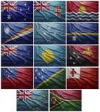 Bandiere di tutti i paesi di Oceania, collage Fotografia Stock
