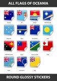 Bandiere di tutti i paesi di Oceania Autoadesivi lucidi rotondi royalty illustrazione gratis
