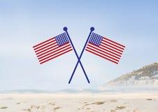 Bandiere di U.S.A. nella spiaggia Fotografia Stock