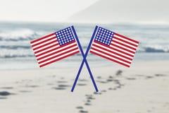Bandiere di U.S.A. nella spiaggia Immagine Stock Libera da Diritti