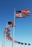 Bandiere di U.S.A. in una fila Immagine Stock