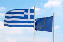Bandiere di UE e della Grecia Fotografie Stock