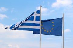 Bandiere di UE e della Grecia Fotografia Stock