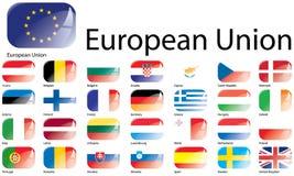 Bandiere di Unione Europea Fotografia Stock