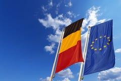 Bandiere di Unione Europea e del Belgio Fotografie Stock Libere da Diritti